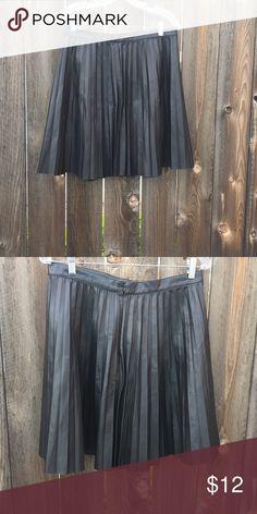 ZARA Pleated black vegan leather skirt SZ L Zara pleated vegan leather skirt large Zara Skirts A-Line or Full
