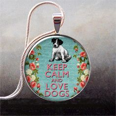 Keep Calm & Love Dogs blue pendant, Keep Calm necklace charm, Dog jewelry Dog necklace charm