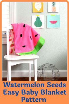 This watermelon seeds easy baby blanket pattern is a great choice for beginners. It's simple to make and the end results are stunning. The watermelon seed baby blanket is your get out of jail free card when you have a baby shower coming up or even for your own little one. The bright and bold colors are lovable and warm and complement the nursery perfectly. The watermelon seeds easy baby blanket makes a great swaddle. #blanketpatetrns#babyblanketpatterns#easyblanketpatterns#easybabysewingpatterns Beginner Sewing Patterns, Sewing Basics, Sewing For Beginners, First Sewing Projects, Sewing Essentials, Easy Baby Blanket, Having A Baby, Bold Colors, Quilt Patterns