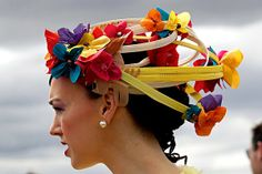 Wow! Multicoloured flower hat, seen at the 2011 Melbourne Cup