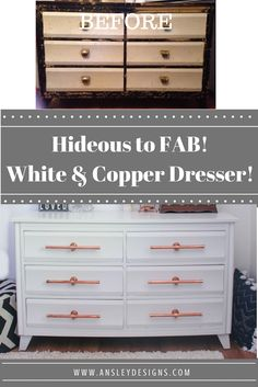 Ansley Designs: White and Copper Dresser with DIY Handles!