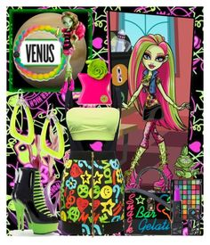 """""""Monster High: Venus Mcflytrap"""" by anniecy ❤ liked on Polyvore featuring Envy, Moschino, Pleaser, Lokai, Bond No. 9, Alexis Bittar, Dolce&Gabbana, The Lip Bar, chic and neon"""