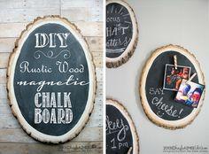 DIY wood magnetic chalkboard