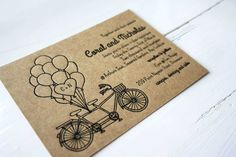 Letterpress Wedding Invitation Tandem Bicycle by CocoPress on Etsy
