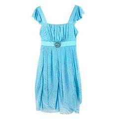 Amy Byer Girls' 7-16 Blue Flutter Sleeve Tiered Sparkle Dress
