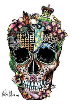 Calavera. I wish I could use a Wacom. #illustration #skull  #wacom