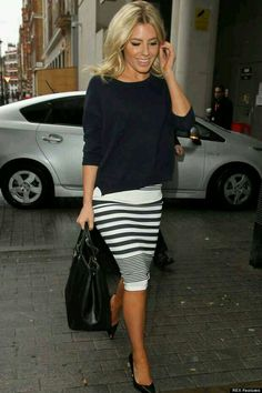 Casual oversized top with pencil skirt