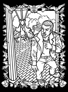 3-D Coloring Book -- Vampires and Zombies coloring book pages