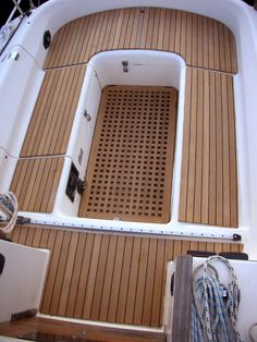 Teak boat decking / cockpit linings good sales-in Australia Sailboat Interior, Yacht Interior, Sailboat Restoration, Small Yachts, Sailboat Living, Wooden Boat Building, Build Your Own Boat, Boat Projects, Boat Accessories