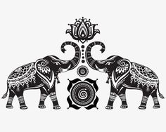 Elephants and lotus, Elephant, Retro, Pattern PNG and Vector