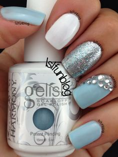 Winter nails - Baby Blue Nails With Rhinestones by Lsl Blue Gel Nails, Glitter Gel Nails, Gelish Nails, Silver Glitter, Baby Blue Nails With Glitter, Blue Nails With Design, Light Blue Nail Designs, Blue And White Nails, Pointy Nails