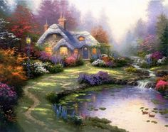 This would be my fairytale...  LOVE Thomas Kinkade art!!!!