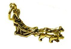 Alaska Sled Snow Dog Mush Pendant Charm 24kt Gold plated siberian husky Jewelry