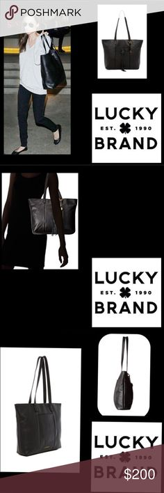 "🆕Lucky Brand🖤Black Leather Tote🖤with tassel🖤 🆕Lucky Brand This sophisticated tote brings style 🌹Authentic Leather with front tassel🌹and stitching🖤Dual carry handles with approx. 10.5"" drop🖤Top zipper closure Exterior features two slip pockets🌹Interior has one zipper pocket and two slip pockets🌹13""Lx3.5""Dx12.25""H Lucky Brand Bags Totes"