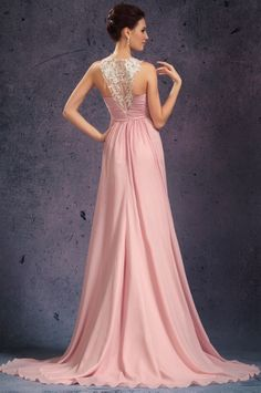 osell wholesale dropship Chiffon Tulle Pleated Applique Round Neck Sleeveless Court Train A Line Evening Prom Dresses $77.49