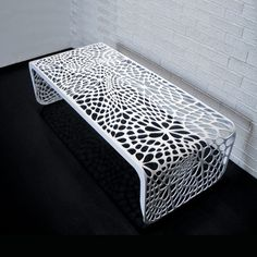 A table and a bench in one is a one great furniture for every home with limited space. Versatile furniture like The Coral Table and Bench is what they need to have the furniture that they need to have without adding to the clutter to their homes. Laser Art, 3d Laser, Laser Cut Patterns, Laser Cut Metal, Metal Screen, Bench Designs, Modern Bench, Plasma Cutting, 3d Prints
