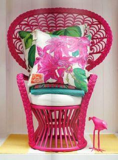 Fabulous Pink ♡ Bohemian retro vintage Peacock chair
