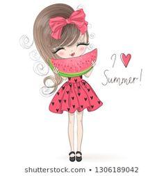 Hand drawn beautiful cute summer girl with big watermelon in her hands. Hand drawn beautiful cute summer girl with big watermelon in her hands. Girly Drawings, Easy Drawings, Cute Cartoon Girl, Cartoon Art, Cute Girl Illustration, Art Mignon, Cute Cartoon Wallpapers, Summer Girls, Kawaii Anime