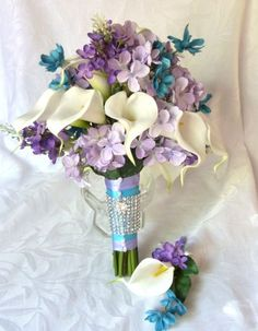 hydranga and cala lily and orchid wedding bouquet | Cascading calla lily bridal bouquet with purple lavender turquoise ...