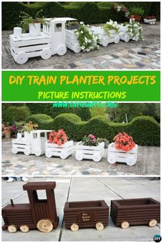 #DIY Train #Planters with Wood Crate, Hollowed Wood Log, Wine Barrel and…