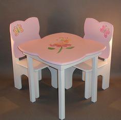 Little Girls table chair set butterflies fairies pink