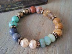 Earthy stretch bracelet - Earth, Wind & Fire - semi precious stone mix rhinestones colorful earthy rustic luxe southwestern country boho