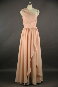 Blush Pink Full Length Chiffon Bridesmaids Dress One Shoulder Prom Gown Simple Wedding Party Dress on Etsy, $86.99