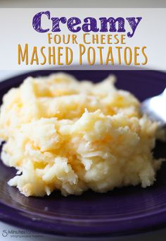 Creamy Four Cheese Mashed Potatoes make the perfect side dish to a grilled steak or southern fried chicken!