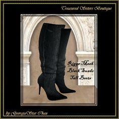 GSC Tall Black Suede Mesh Boots