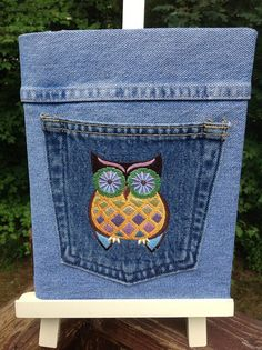 Jean covered Notebook Retro Owl by CreativeSewingSue on Etsy, $16.95