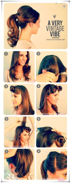 Inspired by 1950′s hairstyles! I am loving this lifted ponytail with curls. :)