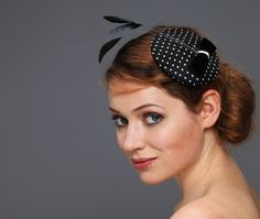 Headpieces & Fascinators - Chapeaulina Polka dots schwarz-weiß Seide Samt - ein Designerstück von billies bei DaWanda