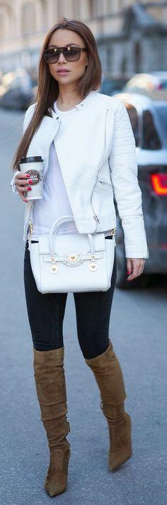 WHITES - Johanna Olsson in white sleeve moto jacket, white tee-shirt and black tights, leather white handbag and khaki over the knee booties.
