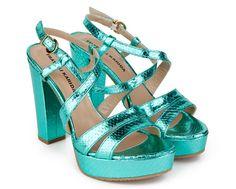 40fa90a9e206 Fratelli Karida Python printed metallic with chunky inspired heel Sandals