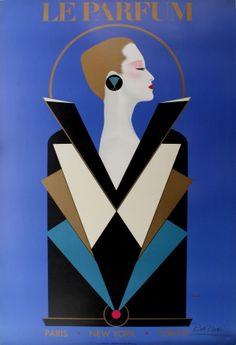Le Parfum Razzia, 1984 - original vintage poster by Razzia (Gerard Courbouleix-Deneriaz) listed on AntikBar.co.uk #ArtDeco