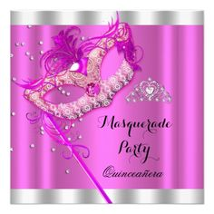 Celebrate entrance to adulthood with our Quinceañera Invitations at Zazzle! Beautiful cards with lots of styles & theme offered. Masquerade Party Invitations, Quinceanera Invitations, Quinceanera Party, Sweet 16 Masquerade, Mask Party, Mardi Gras, Pink, Cards, Carnival