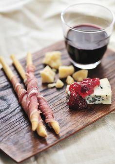 prosciutto-wrapped grissini, gorgonzola and fig jam, and parmigiano reggiano
