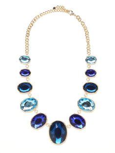 SAPPHIRE GEM BIB ITEM 5961_FINALSALE LIMITED TIME $20 This one is a classic. It features nothing more than luxe gold chains and a bevy of sparkling faceted gems, but, boy, is the look ever audacious and spectacular.