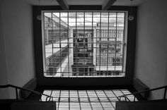 Bauhaus in Dessau, Germany. A view from the stairwell in the school section of the building. The Bauhaus building was completed in 1926.