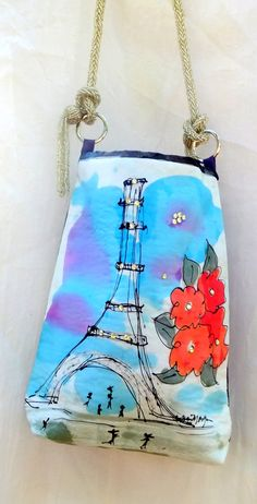 EIFFEL TOWER  Silk hand painted tote bag  One of a by SilkEscape, $68.00