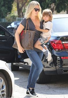 Just the two of them: Molly Sims, 43, took time out from her hectic schedule to spend some...