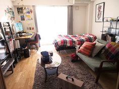 オープン収納でもスッキリ見せる部屋 : 真似したくなる!一人暮らしインテリア 1K・ワンルームレイアウト【男子部屋】 - NAVER まとめ