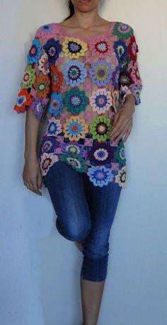 Häkeln Hippie retro Vintage-Stil Boho Zigeuner floral von GlamCro