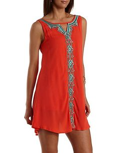 Metallic Aztec-Embroidered Shift Dress: Charlotte Russe #dress