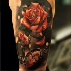Tattoo old pocket watch with 3D roses   #Tattoo, #Tattooed, #Tattoos