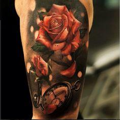 Tattoo old pocket watch with 3D roses   #Tattoo, #Tattooed, #Tattoos