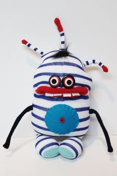 BERBO  Blue and White Striped Monster by stufd on Etsy, $25.00