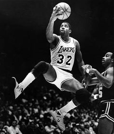 Magic Johnson is one of four players to win NCAA and NBA championships in consecutive years. He won a championship and an NBA Finals Most Valuable Player Award in his rookie season, and won four more championships with the Lakers during the Love And Basketball, Basketball Legends, Sports Basketball, Basketball Players, Basketball History, Jordan Basketball, Basketball Court, Larry Bird, Los Angeles Lakers