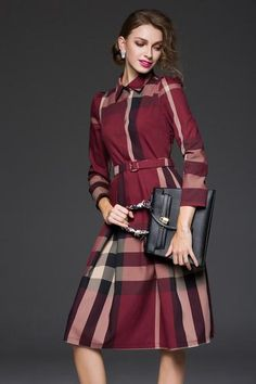 PLAID DRESS W/ BELT
