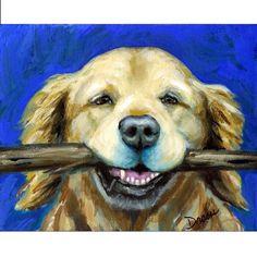 Golden Retriever with Stick Dog Art 8x10 Print of by DottieDracos